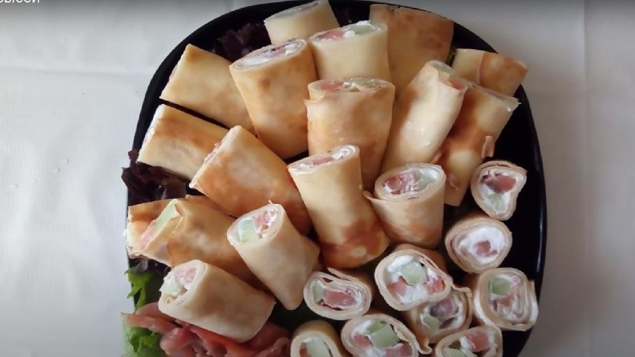 Блинчики а-ля суши с красной рыбой и Филадельфией